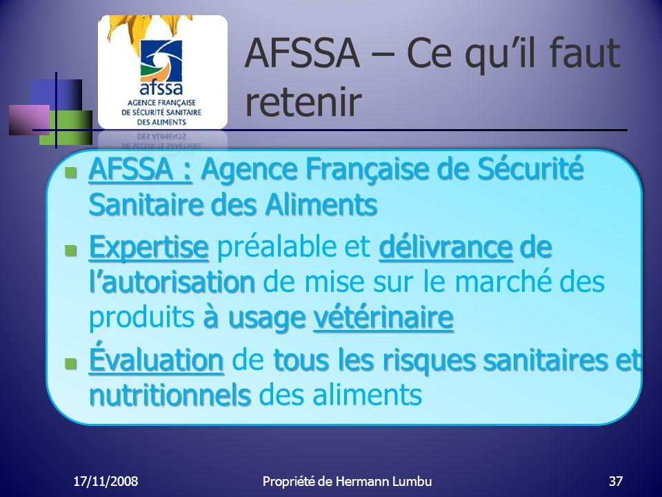 AFSSA – Ce quil faut retenir AFSSA : Agence Française de Sécurité Sanitaire des Aliments AFSSA : Agence Française de Sécurité Sanitaire des Aliments E