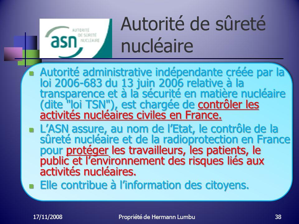 Autorité de sûreté nucléaire Autorité administrative indépendante créée par la loi 2006-683 du 13 juin 2006 relative à la transparence et à la sécurit