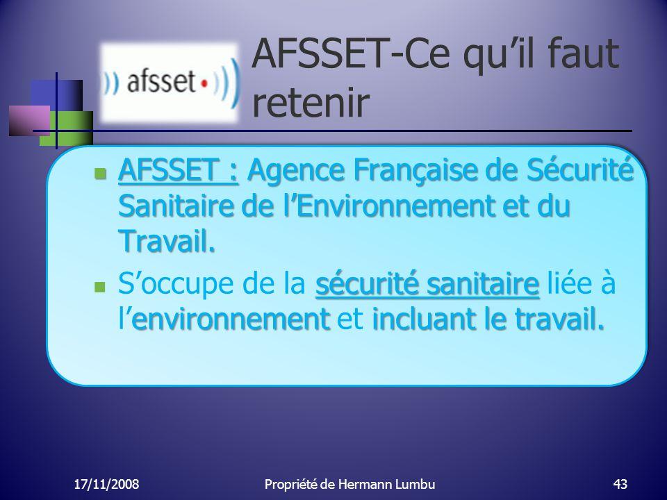 AFSSET-Ce quil faut retenir AFSSET : Agence Française de Sécurité Sanitaire de lEnvironnement et du Travail. AFSSET : Agence Française de Sécurité San