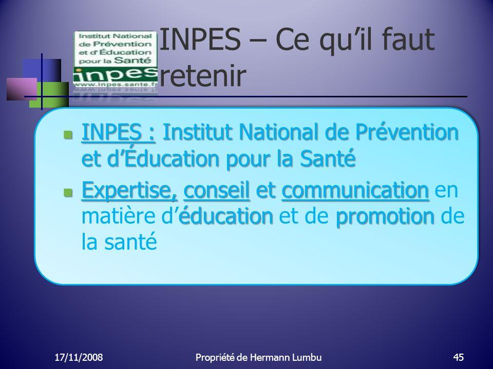 INPES – Ce quil faut retenir INPES : Institut National de Prévention et dÉducation pour la Santé INPES : Institut National de Prévention et dÉducation