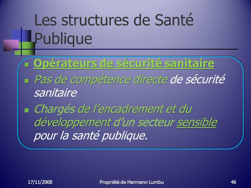 Les structures de Santé Publique Opérateurs de sécurité sanitaire Opérateurs de sécurité sanitaire Pas de compétence directe Pas de compétence directe