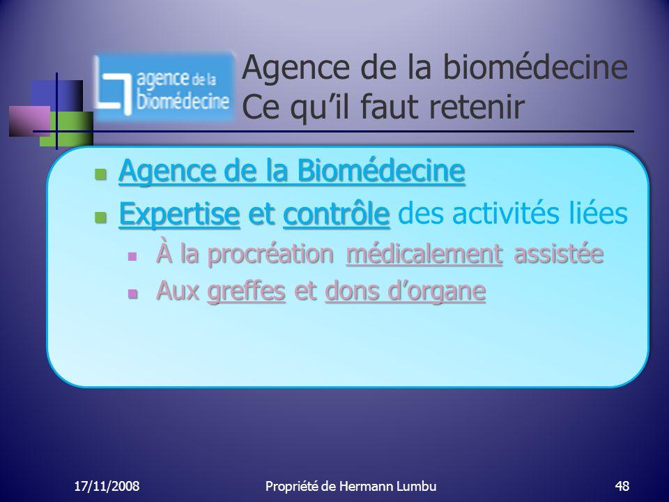 Agence de la biomédecine Ce quil faut retenir Agence de la Biomédecine Agence de la Biomédecine Expertise et contrôle Expertise et contrôle des activi