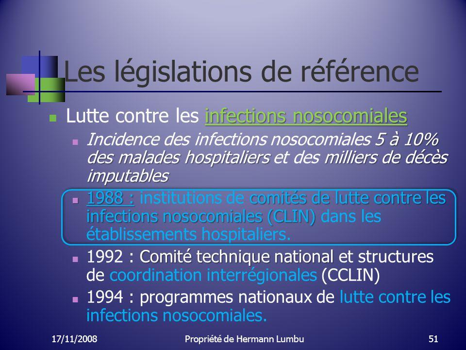 Les législations de référence infections nosocomiales Lutte contre les infections nosocomiales 5 à 10% des malades hospitaliersmilliers de décès imput