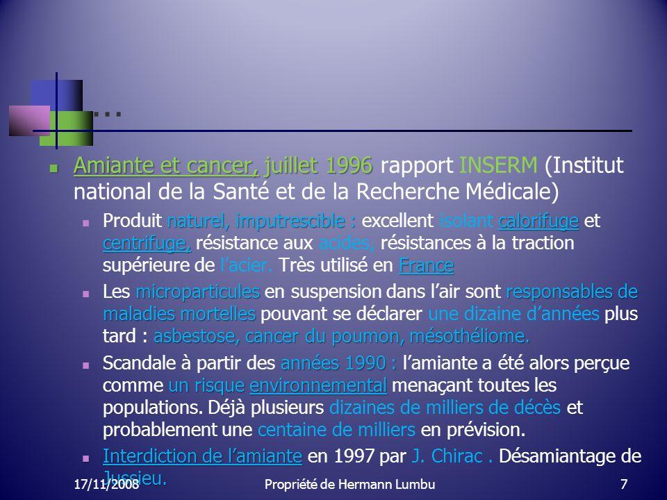 … Amiante et cancer, juillet 1996 Amiante et cancer, juillet 1996 rapport INSERM (Institut national de la Santé et de la Recherche Médicale) naturel,