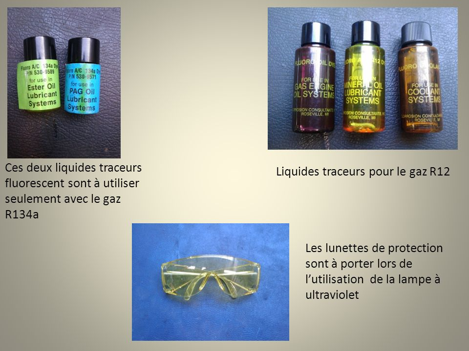 Ces deux liquides traceurs fluorescent sont à utiliser seulement avec le gaz R134a Les lunettes de protection sont à porter lors de lutilisation de la lampe à ultraviolet Liquides traceurs pour le gaz R12