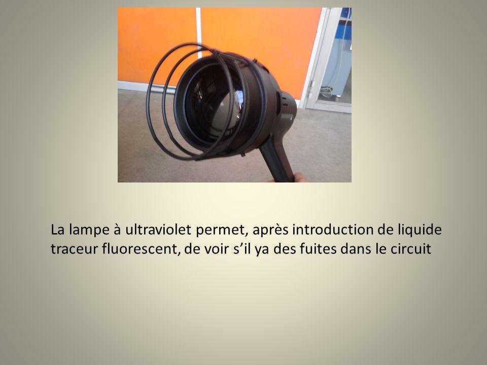 La lampe à ultraviolet permet, après introduction de liquide traceur fluorescent, de voir sil ya des fuites dans le circuit