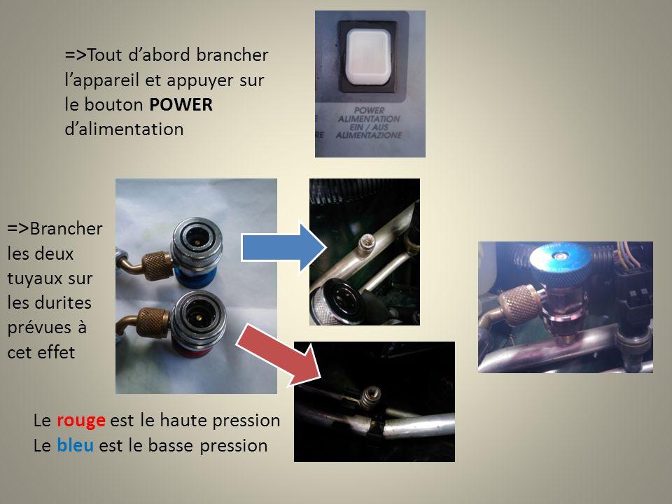 => Tout dabord brancher lappareil et appuyer sur le bouton POWER dalimentation => Brancher les deux tuyaux sur les durites prévues à cet effet Le rouge est le haute pression Le bleu est le basse pression