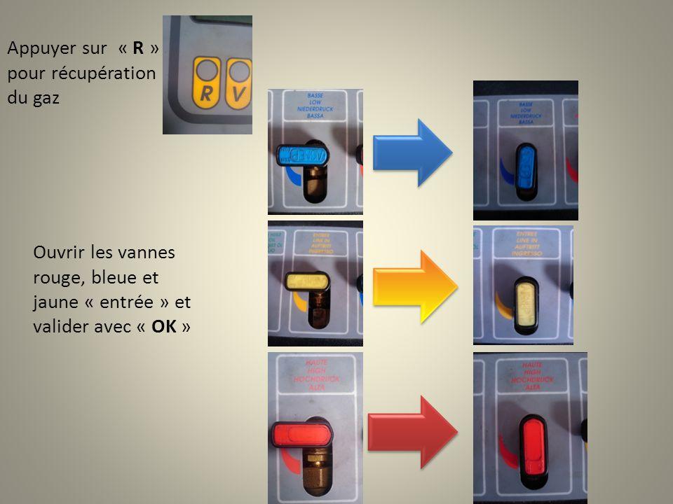 Ouvrir les vannes rouge, bleue et jaune « entrée » et valider avec « OK » Appuyer sur « R » pour récupération du gaz