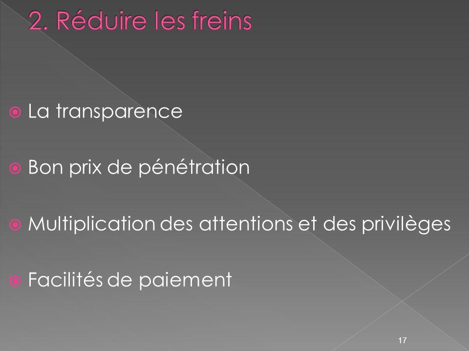 La transparence Bon prix de pénétration Multiplication des attentions et des privilèges Facilités de paiement 17