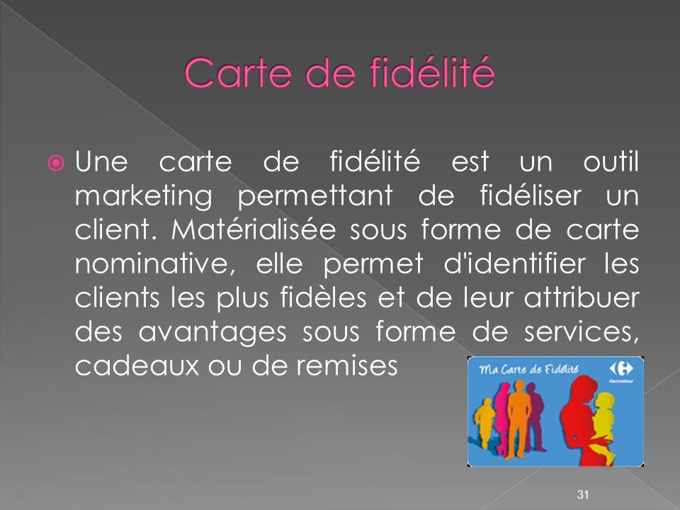 Une carte de fidélité est un outil marketing permettant de fidéliser un client. Matérialisée sous forme de carte nominative, elle permet d'identifier