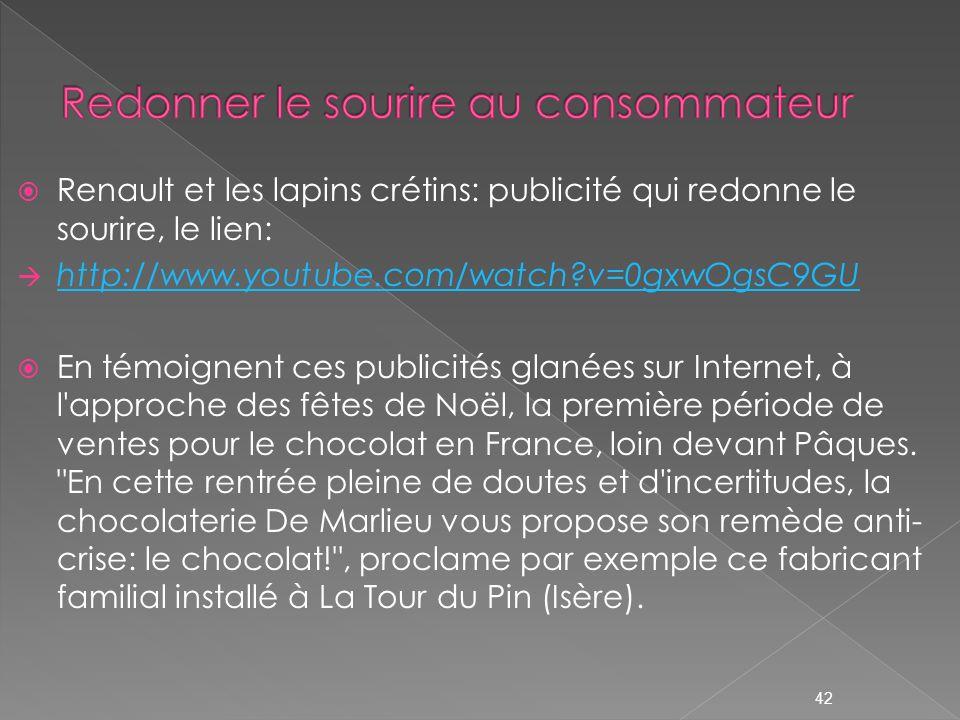 Renault et les lapins crétins: publicité qui redonne le sourire, le lien: http://www.youtube.com/watch?v=0gxwOgsC9GU En témoignent ces publicités glan