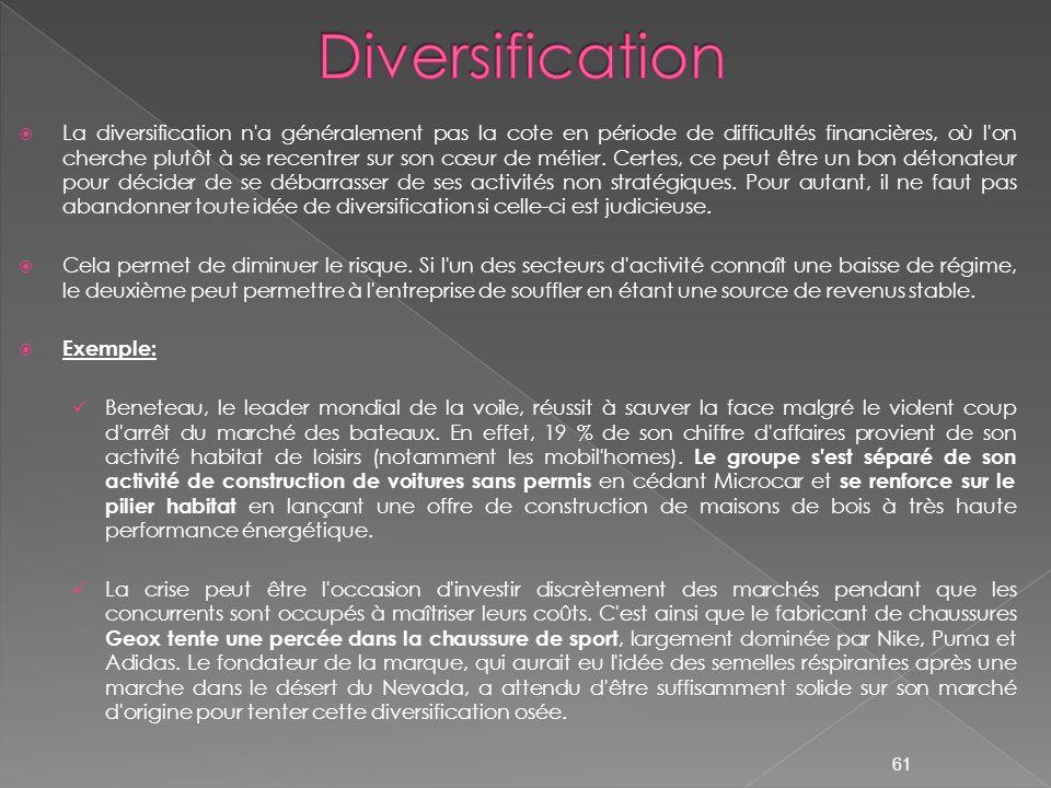 La diversification n'a généralement pas la cote en période de difficultés financières, où l'on cherche plutôt à se recentrer sur son cœur de métier. C