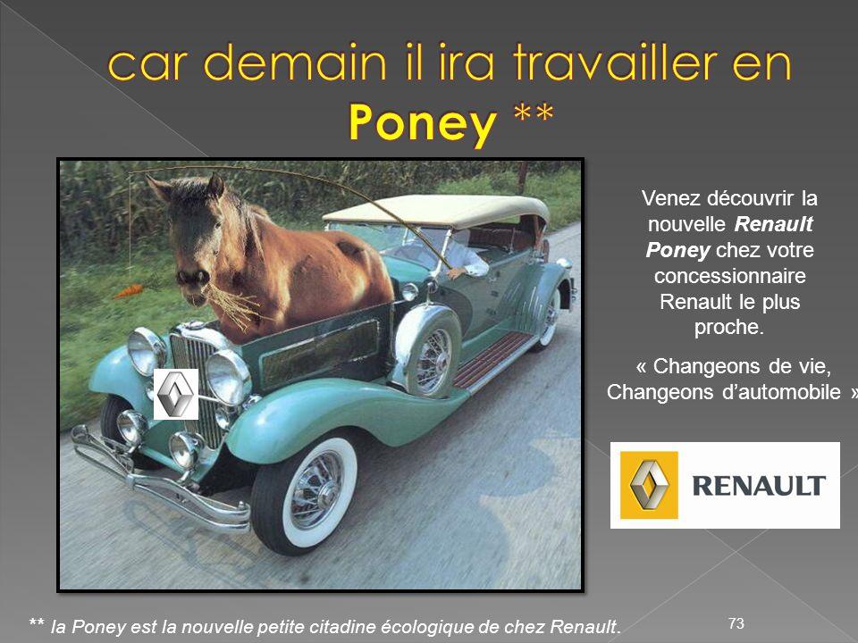 Venez découvrir la nouvelle Renault Poney chez votre concessionnaire Renault le plus proche. « Changeons de vie, Changeons dautomobile » 73 ** la Pone