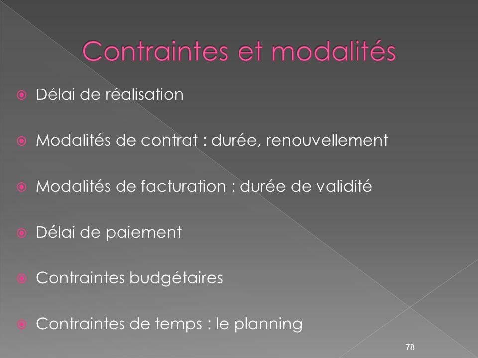 Délai de réalisation Modalités de contrat : durée, renouvellement Modalités de facturation : durée de validité Délai de paiement Contraintes budgétair