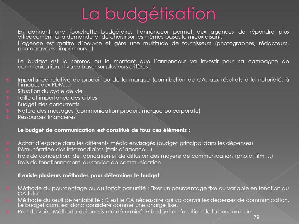En donnant une fourchette budgétaire, lannonceur permet aux agences de répondre plus efficacement à la demande et de choisir sur les mêmes bases le mi