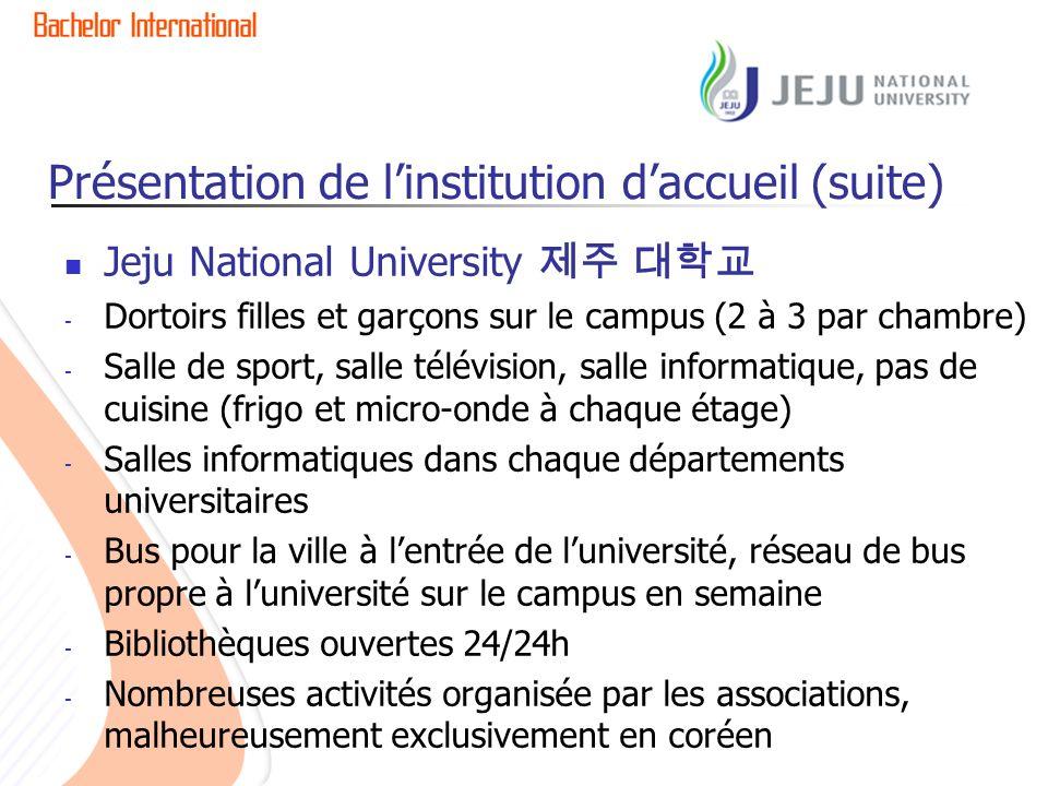 Présentation de linstitution daccueil (suite) Jeju National University - Dortoirs filles et garçons sur le campus (2 à 3 par chambre) - Salle de sport