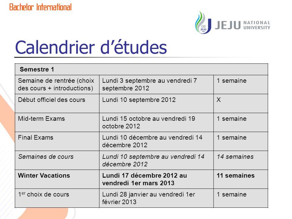 Calendrier détudes Semestre 1 Semaine de rentrée (choix des cours + introductions) Lundi 3 septembre au vendredi 7 septembre 2012 1 semaine Début offi