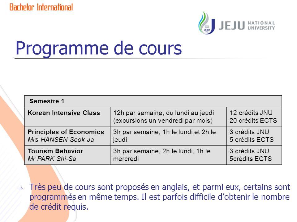 Programme de cours Très peu de cours sont proposés en anglais, et parmi eux, certains sont programmés en même temps.