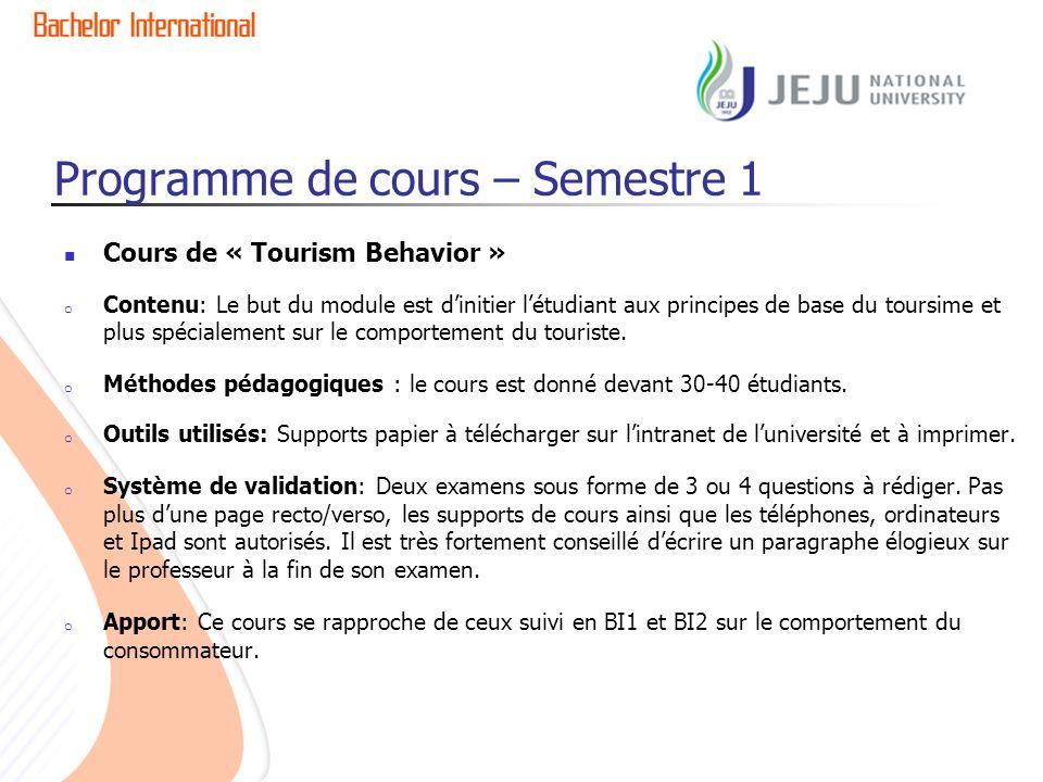 Programme de cours – Semestre 1 Cours de « Tourism Behavior » o Contenu: Le but du module est dinitier létudiant aux principes de base du toursime et plus spécialement sur le comportement du touriste.