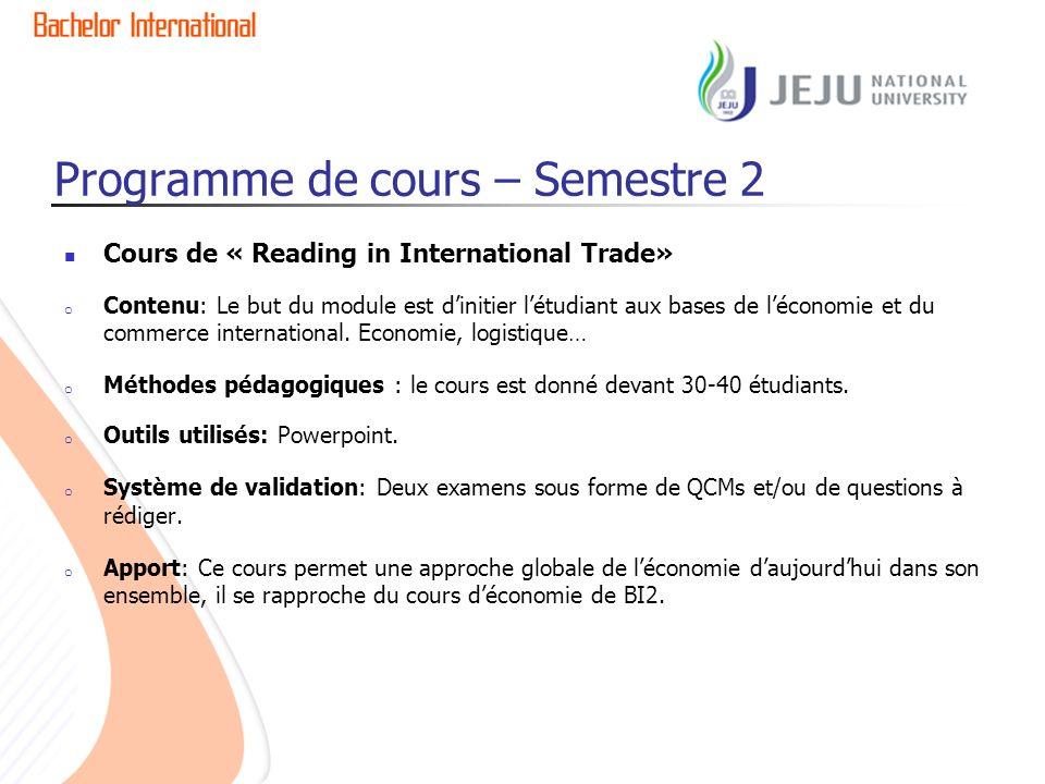 Programme de cours – Semestre 2 Cours de « Reading in International Trade» o Contenu: Le but du module est dinitier létudiant aux bases de léconomie et du commerce international.