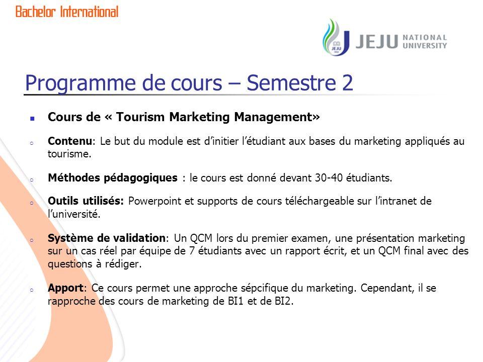 Programme de cours – Semestre 2 Cours de « Tourism Marketing Management» o Contenu: Le but du module est dinitier létudiant aux bases du marketing appliqués au tourisme.