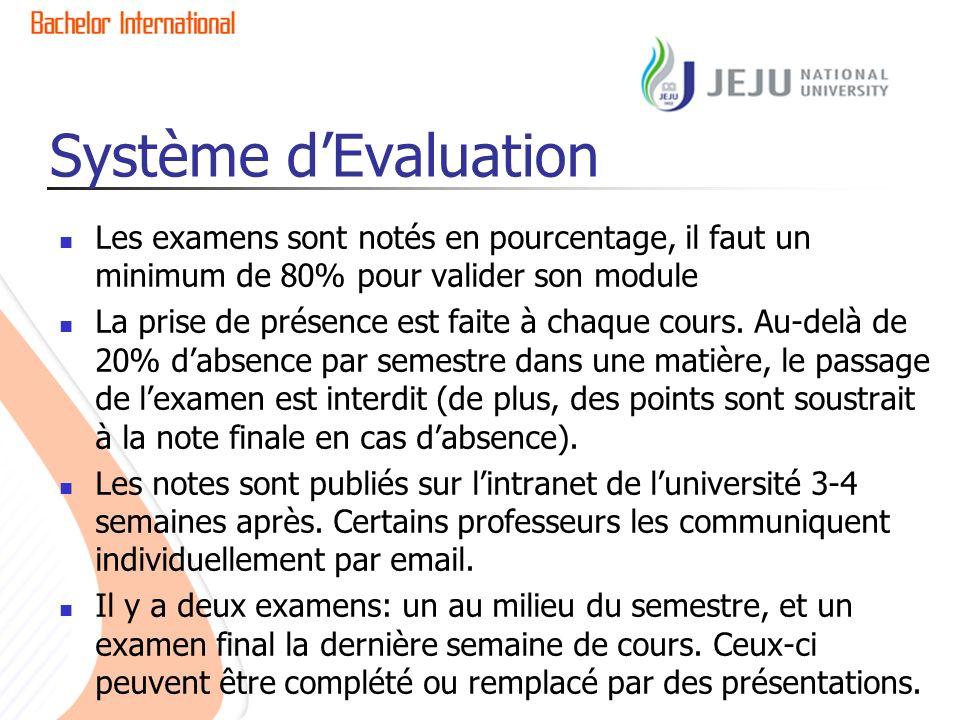Système dEvaluation Les examens sont notés en pourcentage, il faut un minimum de 80% pour valider son module La prise de présence est faite à chaque cours.
