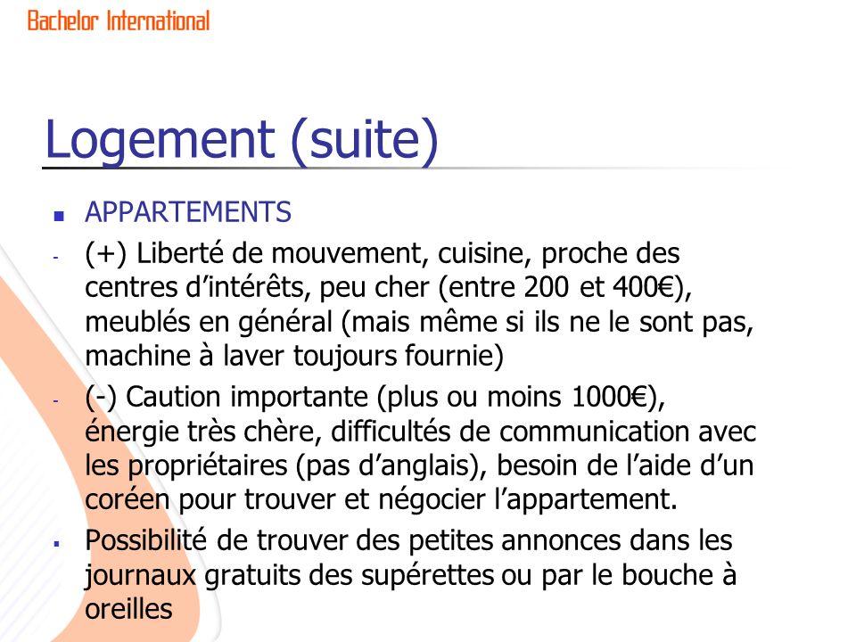 Logement (suite) APPARTEMENTS - (+) Liberté de mouvement, cuisine, proche des centres dintérêts, peu cher (entre 200 et 400), meublés en général (mais
