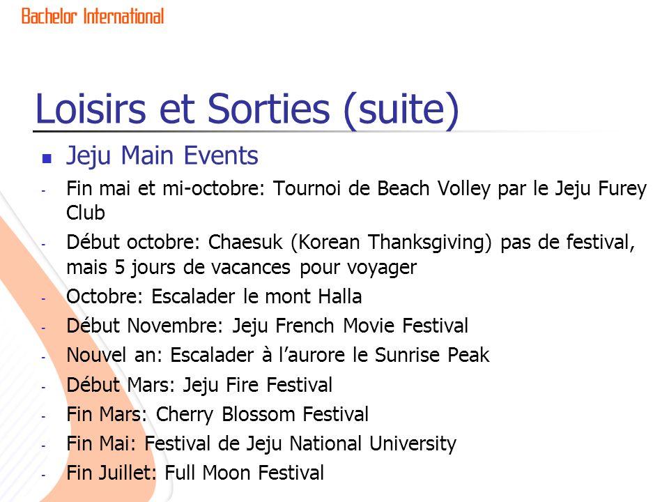 Loisirs et Sorties (suite) Jeju Main Events - Fin mai et mi-octobre: Tournoi de Beach Volley par le Jeju Furey Club - Début octobre: Chaesuk (Korean Thanksgiving) pas de festival, mais 5 jours de vacances pour voyager - Octobre: Escalader le mont Halla - Début Novembre: Jeju French Movie Festival - Nouvel an: Escalader à laurore le Sunrise Peak - Début Mars: Jeju Fire Festival - Fin Mars: Cherry Blossom Festival - Fin Mai: Festival de Jeju National University - Fin Juillet: Full Moon Festival