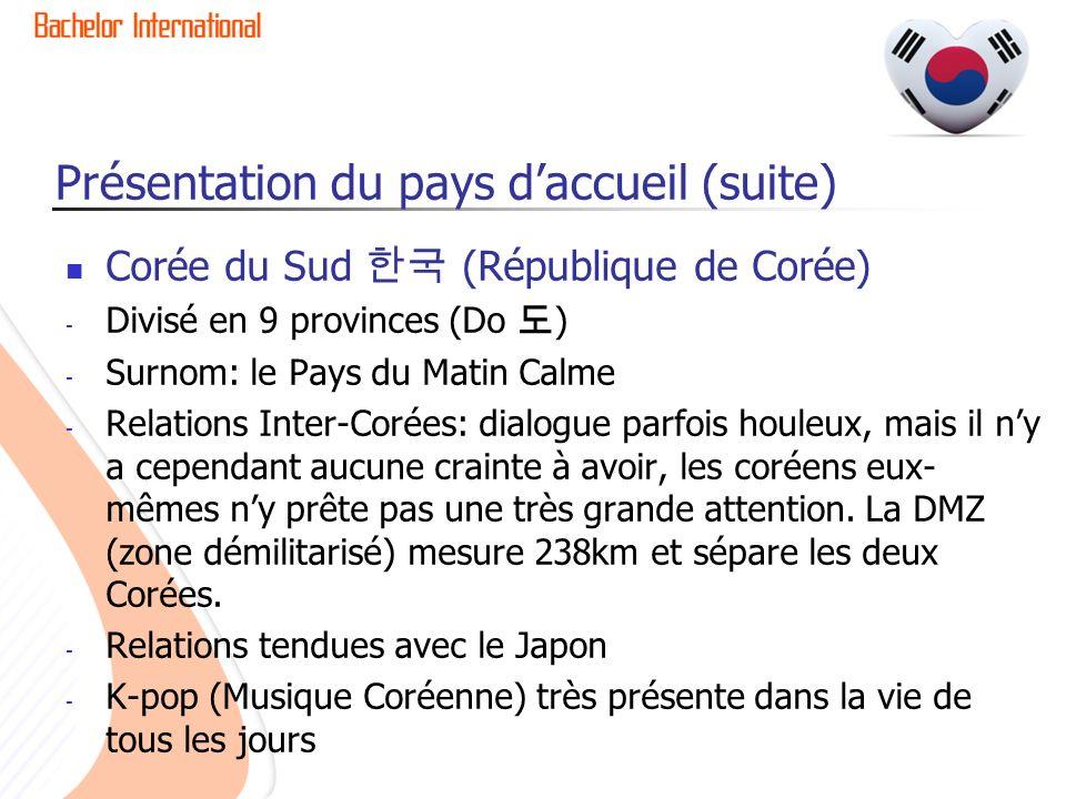 Présentation du pays daccueil (suite) Corée du Sud (République de Corée) - Divisé en 9 provinces (Do ) - Surnom: le Pays du Matin Calme - Relations In