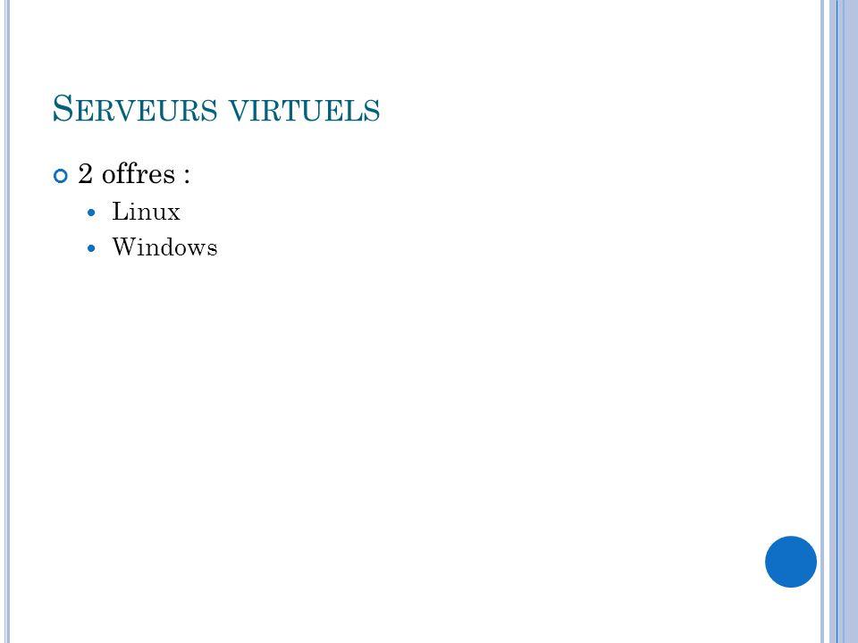 S ERVEURS VIRTUELS 2 offres : Linux Windows
