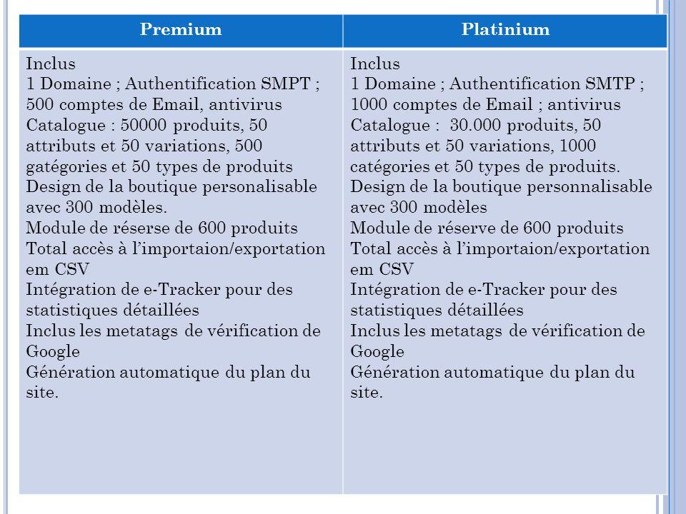 PremiumPlatinium Inclus 1 Domaine ; Authentification SMPT ; 500 comptes de Email, antivirus Catalogue : 50000 produits, 50 attributs et 50 variations,