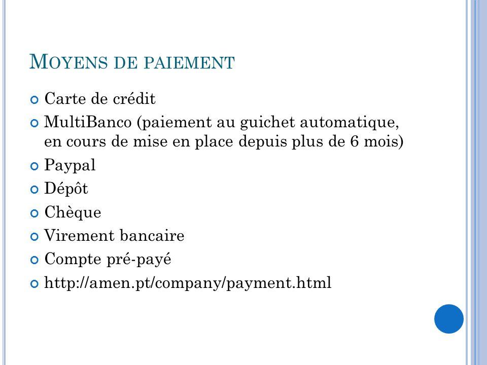 M OYENS DE PAIEMENT Carte de crédit MultiBanco (paiement au guichet automatique, en cours de mise en place depuis plus de 6 mois) Paypal Dépôt Chèque