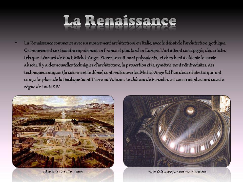 La Renaissance commence avec un mouvement architectural en Italie, avec le début de larchitecture gothique. Ce mouvement se répandra rapidement en Fra