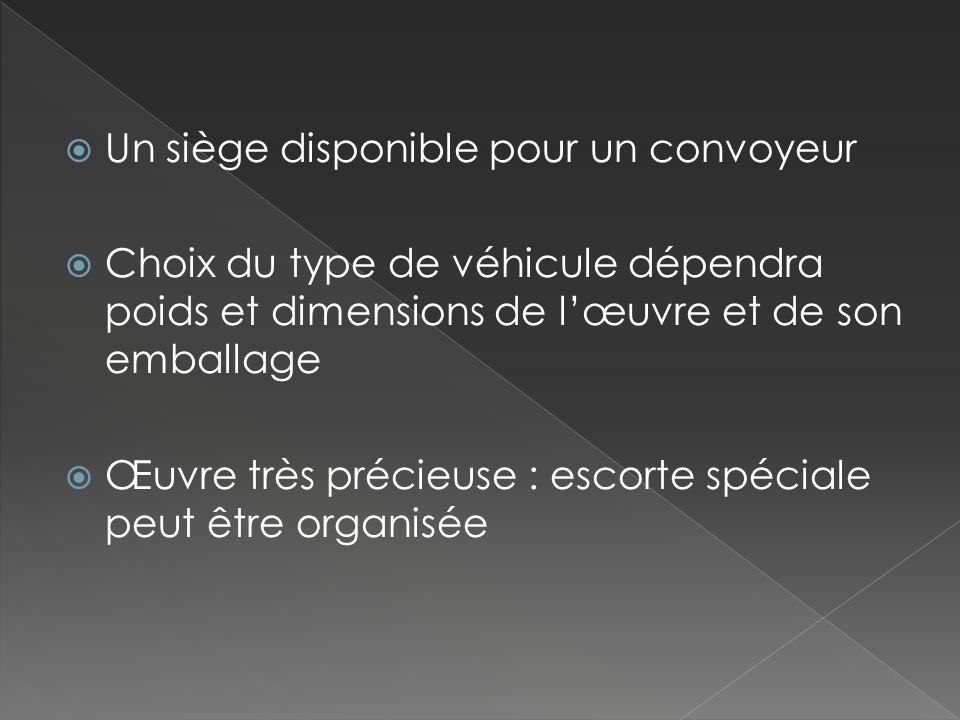 Un siège disponible pour un convoyeur Choix du type de véhicule dépendra poids et dimensions de lœuvre et de son emballage Œuvre très précieuse : esco
