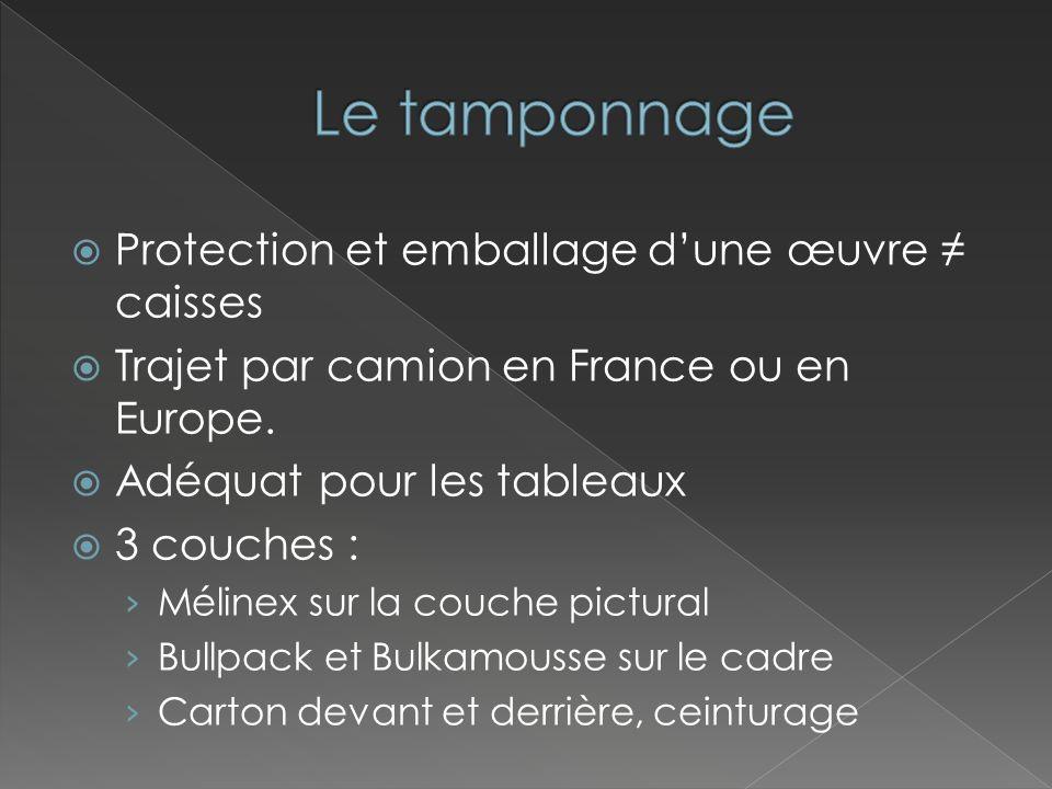1 ère couche (celle qui protège la surface) Chimiquement neutre Transparence du matériau Papier de soie Mélinex Tyvek