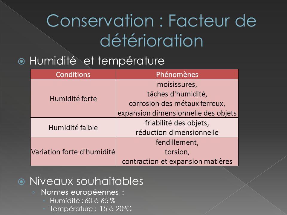Détérioration par insectes « vers du bois » Traitement du bois Lumière Niveau élevé, courte période Niveau bas, longue durée Limiter les UV Protection limitant les UV (Feuilles plastiques ) Polluants Atmosphérique (oxyde de carbone, etc.) Filtrage de lair