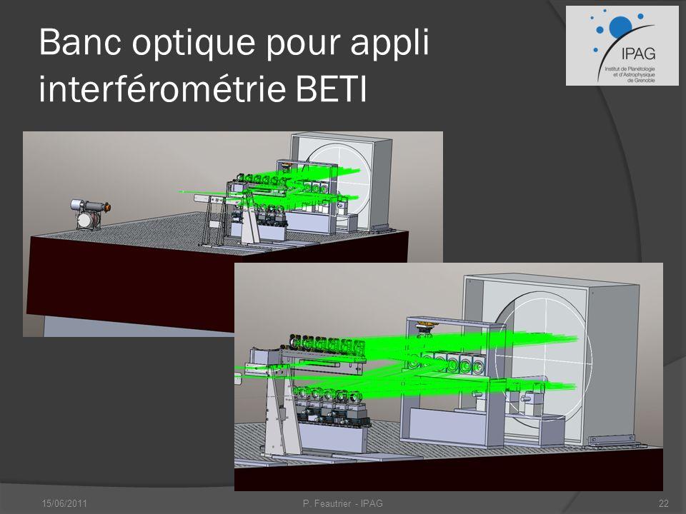 Banc optique pour appli interférométrie BETI 15/06/2011P. Feautrier - IPAG22