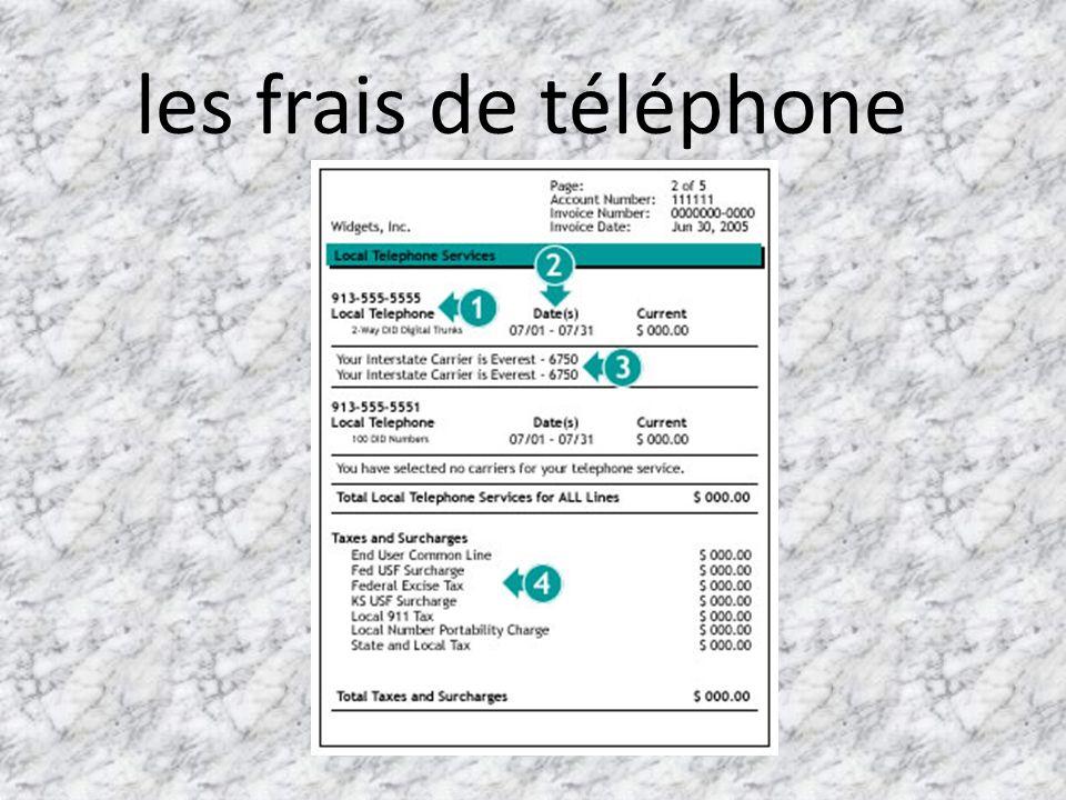les frais de téléphone