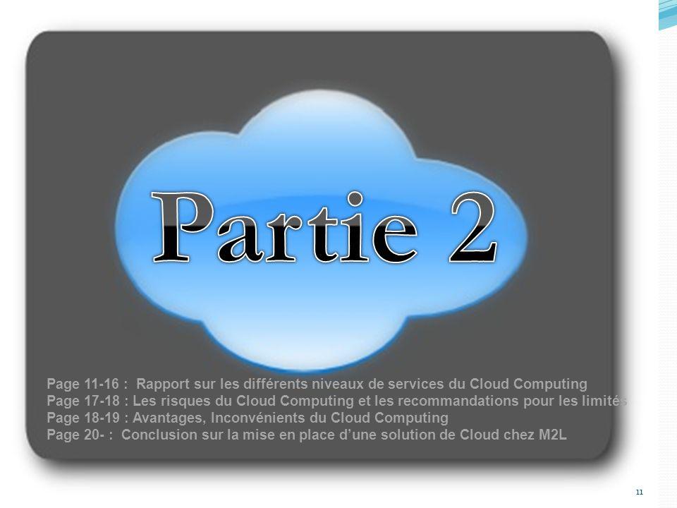 11 Page 11-16 : Rapport sur les différents niveaux de services du Cloud Computing Page 17-18 : Les risques du Cloud Computing et les recommandations pour les limités Page 18-19 : Avantages, Inconvénients du Cloud Computing Page 20- : Conclusion sur la mise en place dune solution de Cloud chez M2L