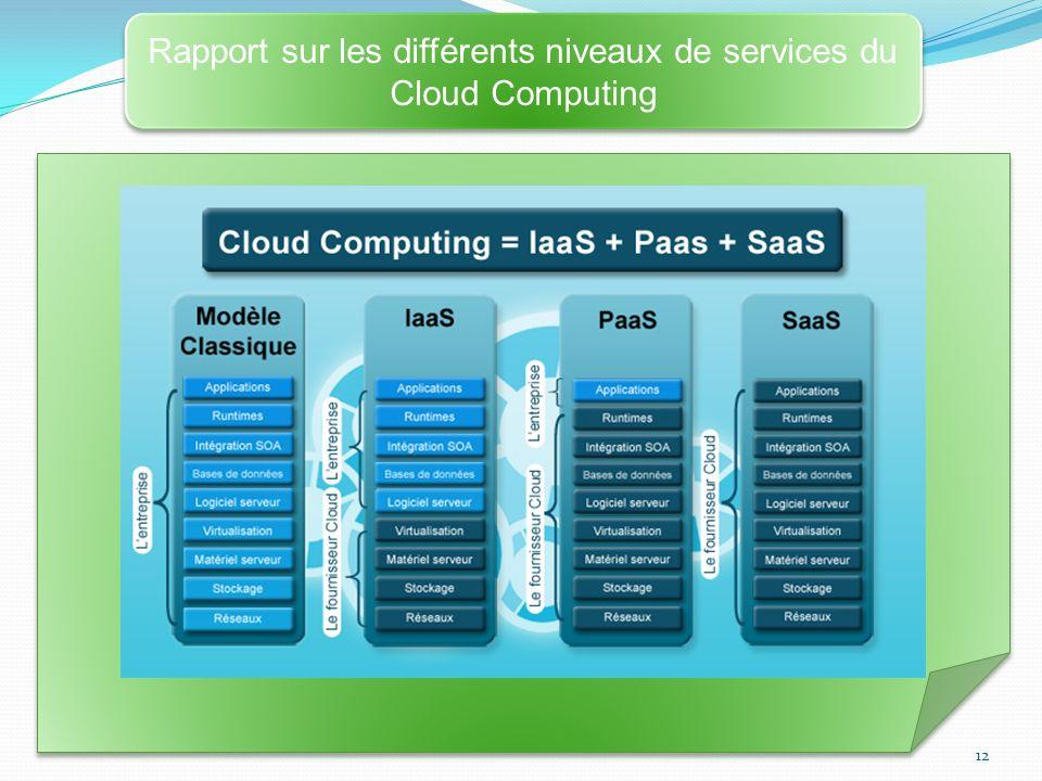 12 Rapport sur les différents niveaux de services du Cloud Computing