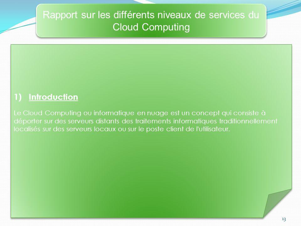 13 Rapport sur les différents niveaux de services du Cloud Computing 1)Introduction Le Cloud Computing ou informatique en nuage est un concept qui con