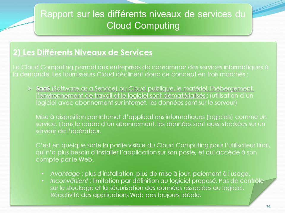 14 Rapport sur les différents niveaux de services du Cloud Computing 2) Les Différents Niveaux de Services Le Cloud Computing permet aux entreprises de consommer des services informatiques à la demande.