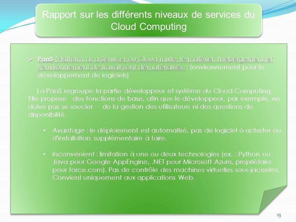 15 Rapport sur les différents niveaux de services du Cloud Computing PaaS (Platform as a Service) ou Cloud mixte, le matériel, l'hébergement et lenvir