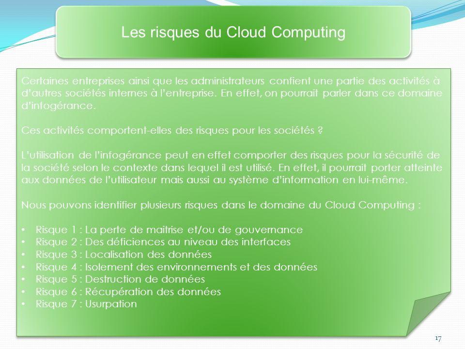 17 Les risques du Cloud Computing Certaines entreprises ainsi que les administrateurs confient une partie des activités à dautres sociétés internes à