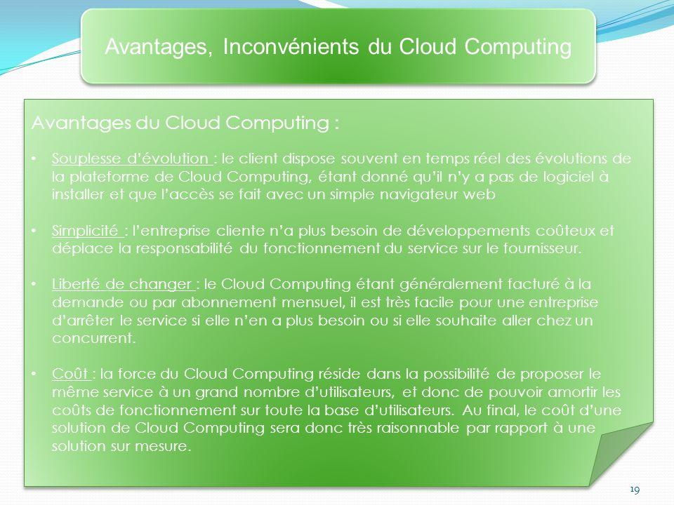 19 Avantages, Inconvénients du Cloud Computing Avantages du Cloud Computing : Souplesse dévolution : le client dispose souvent en temps réel des évolu