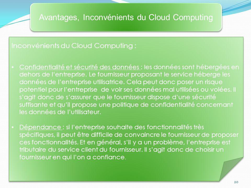 20 Avantages, Inconvénients du Cloud Computing Inconvénients du Cloud Computing : Confidentialité et sécurité des données : les données sont hébergées en dehors de lentreprise.