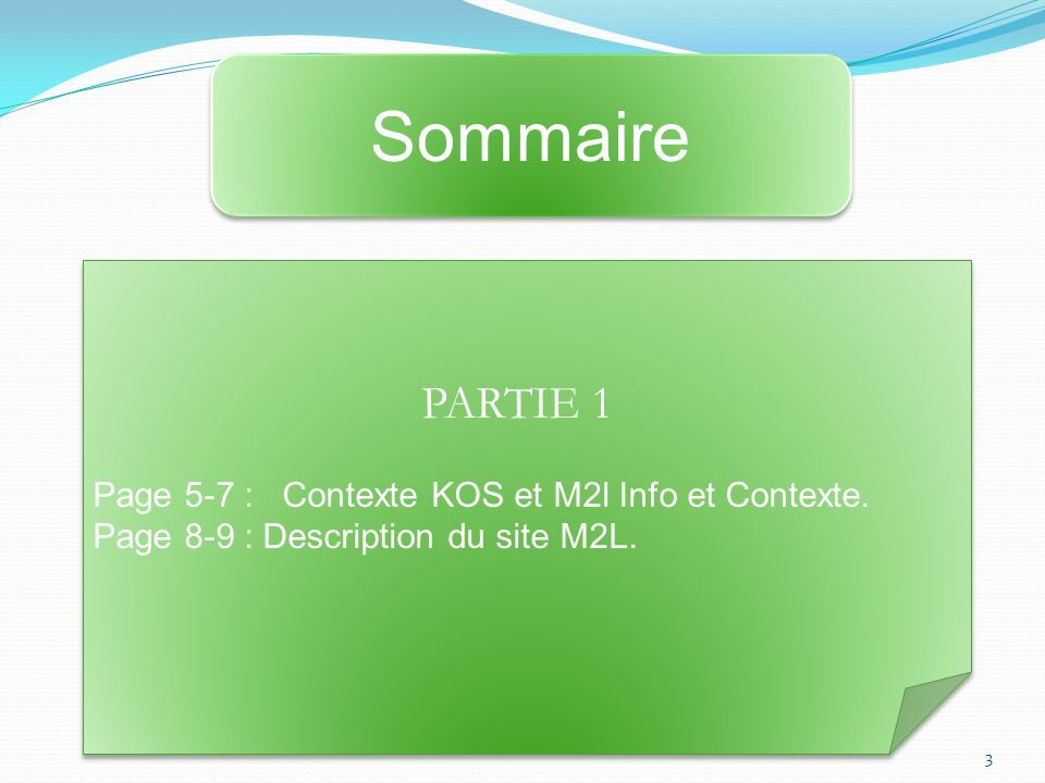 PARTIE 1 Page 5-7 : Contexte KOS et M2l Info et Contexte. Page 8-9 : Description du site M2L. PARTIE 1 Page 5-7 : Contexte KOS et M2l Info et Contexte
