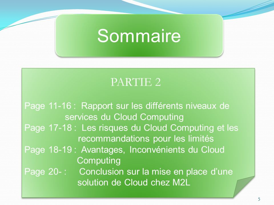 PARTIE 2 Page 11-16 : Rapport sur les différents niveaux de services du Cloud Computing Page 17-18 : Les risques du Cloud Computing et les recommandations pour les limités Page 18-19 : Avantages, Inconvénients du Cloud Computing Page 20- : Conclusion sur la mise en place dune solution de Cloud chez M2L PARTIE 2 Page 11-16 : Rapport sur les différents niveaux de services du Cloud Computing Page 17-18 : Les risques du Cloud Computing et les recommandations pour les limités Page 18-19 : Avantages, Inconvénients du Cloud Computing Page 20- : Conclusion sur la mise en place dune solution de Cloud chez M2L Sommaire 5