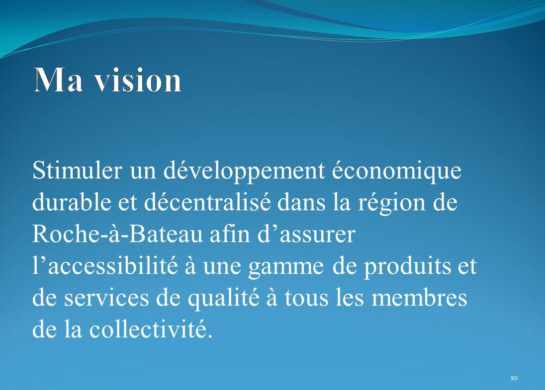 Stimuler un développement économique durable et décentralisé dans la région de Roche-à-Bateau afin dassurer laccessibilité à une gamme de produits et de services de qualité à tous les membres de la collectivité.