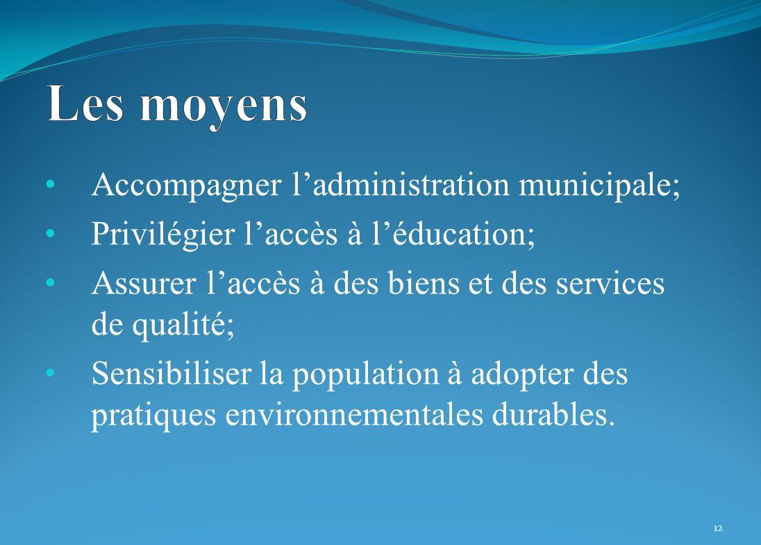 Accompagner ladministration municipale; Privilégier laccès à léducation; Assurer laccès à des biens et des services de qualité; Sensibiliser la population à adopter des pratiques environnementales durables.